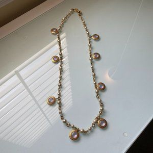 Coach | Gold Pearl & Glass Medallion Long Necklace